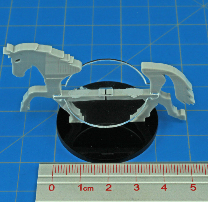 Warhorse Character Mount with 40mm Circular Base, Grey - LITKO Game Accessories