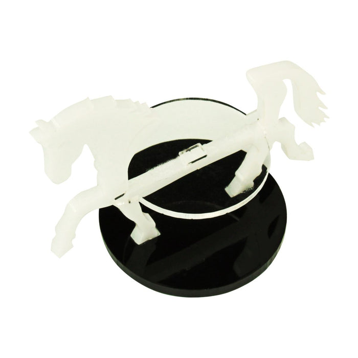 Warhorse Character Mount with 40mm Circular Base, White - LITKO Game Accessories