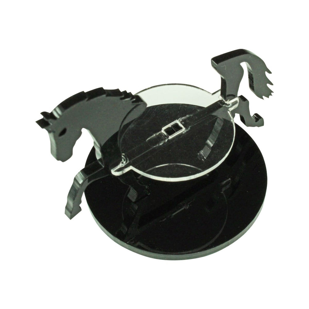 Warhorse Character Mount with 50mm Circular Base, Black - LITKO Game Accessories