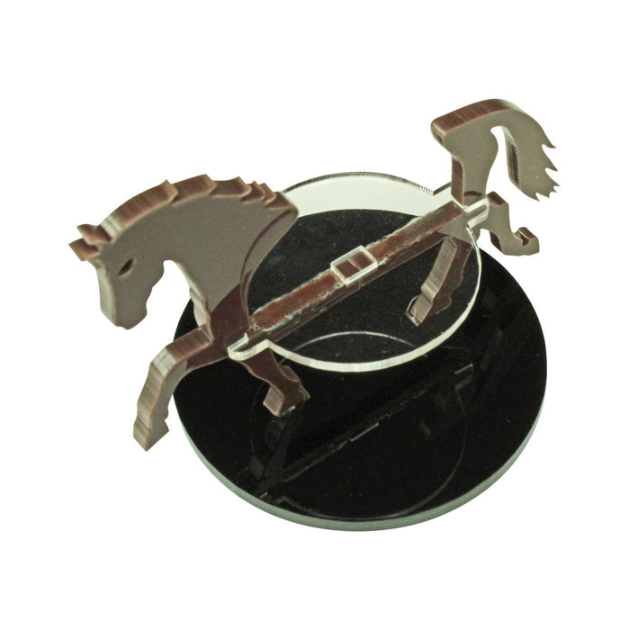 Warhorse Character Mount with 50mm Circular Base, Brown - LITKO Game Accessories