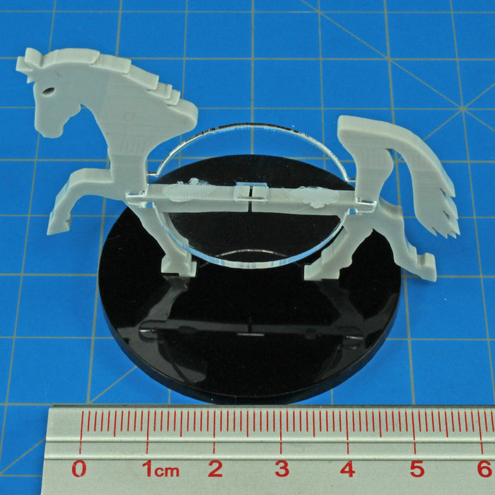 Warhorse Character Mount with 50mm Circular Base, Grey - LITKO Game Accessories