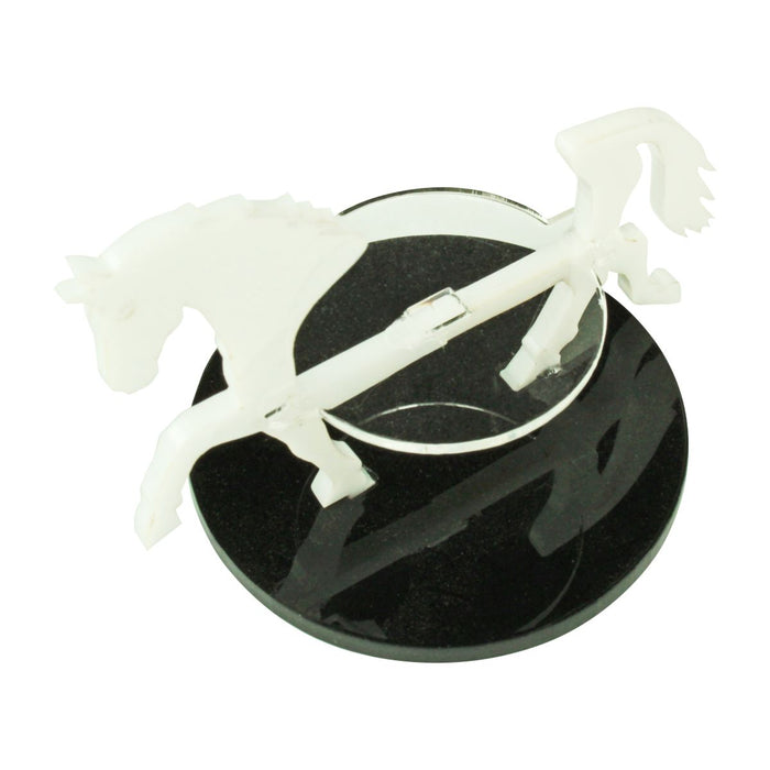 Warhorse Character Mount with 50mm Circular Base, White - LITKO Game Accessories