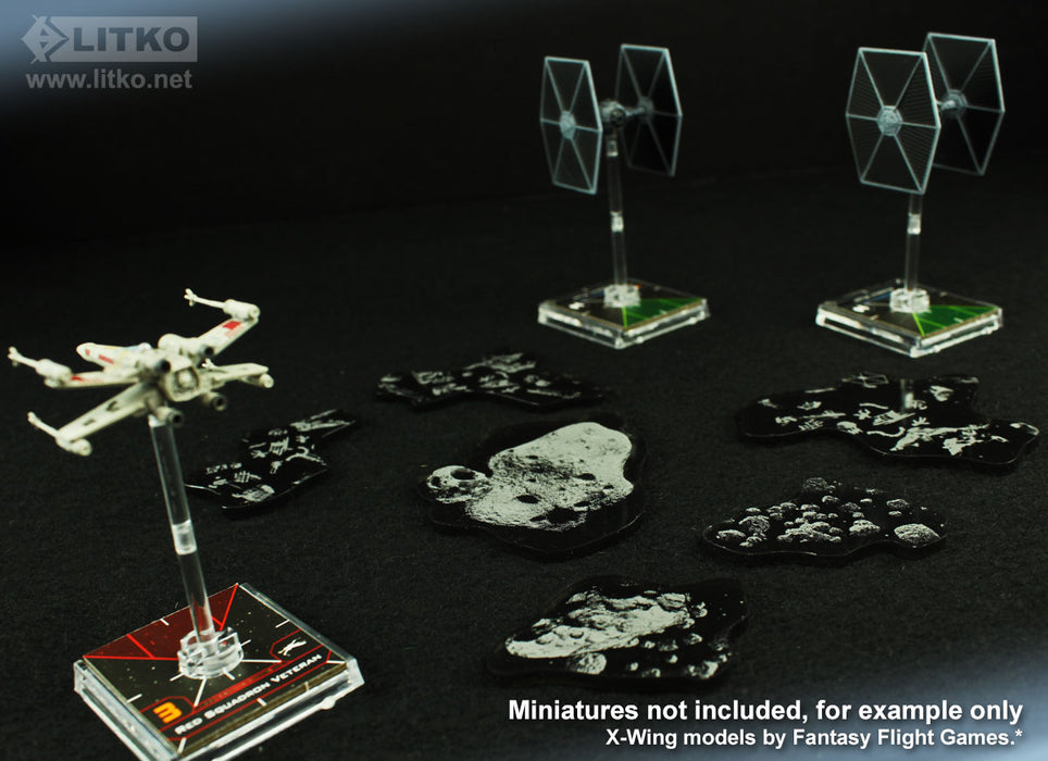 LITKO Space Fighter 2nd Edition Asteroid & Debris Templates, Translucent Grey (6) - LITKO Game Accessories