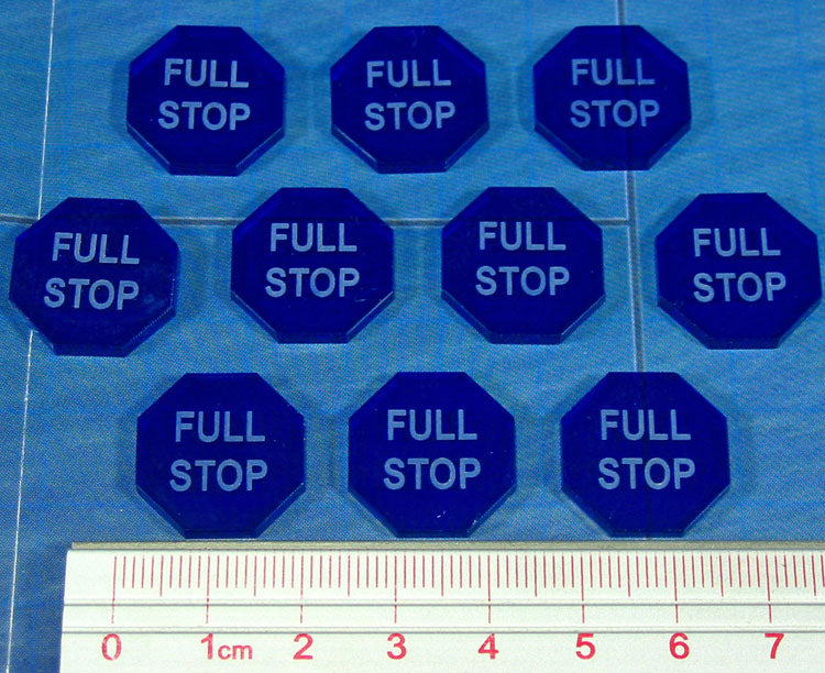 Full Stop Tokens, Translucent Blue (10) - LITKO Game Accessories