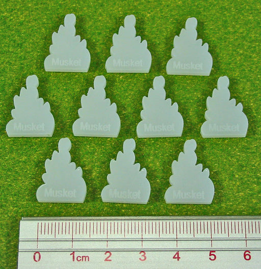 Musket Fire Tokens, Translucent White (10) - LITKO Game Accessories