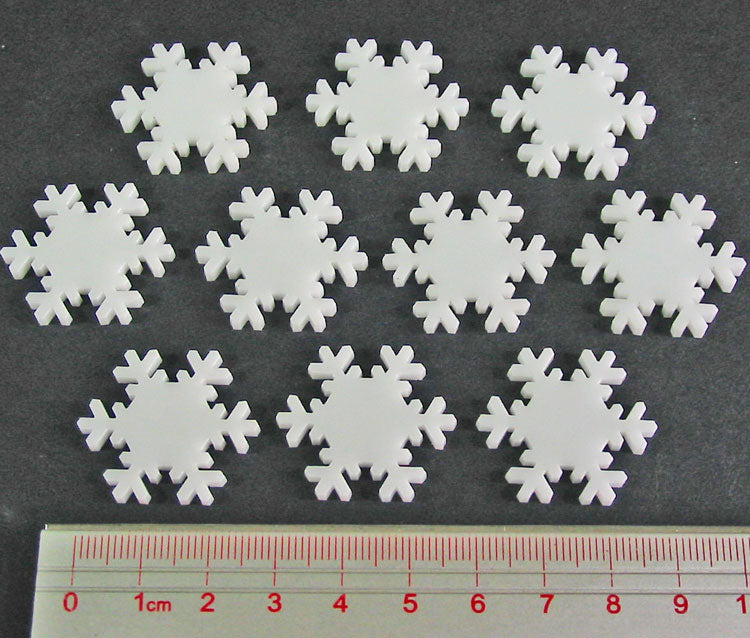 Snowflake Tokens, White (10) - LITKO Game Accessories