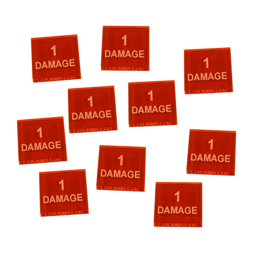 1-Damage Tokens, Fluorescent Amber (10) - LITKO Game Accessories