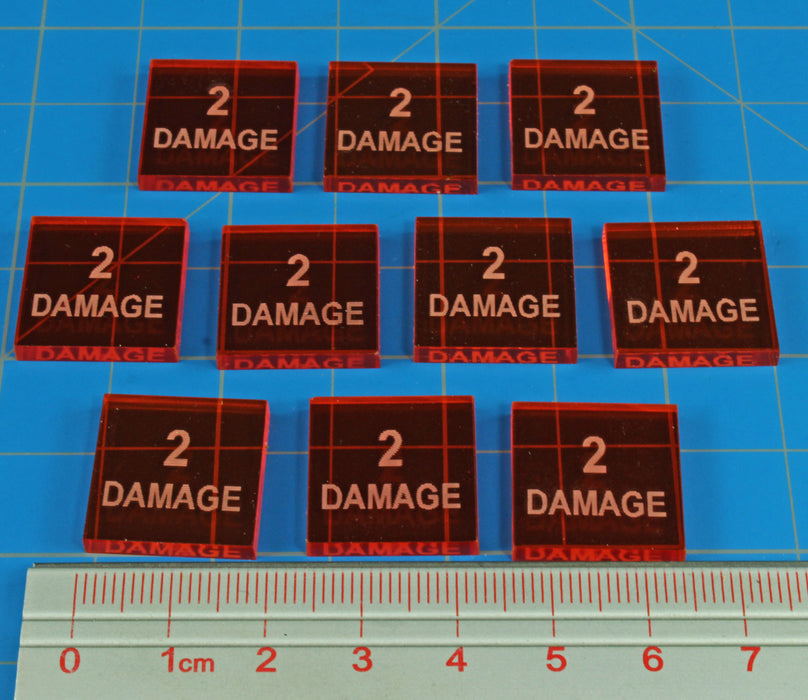 2-Damage Tokens, Fluorescent Amber (10) - LITKO Game Accessories