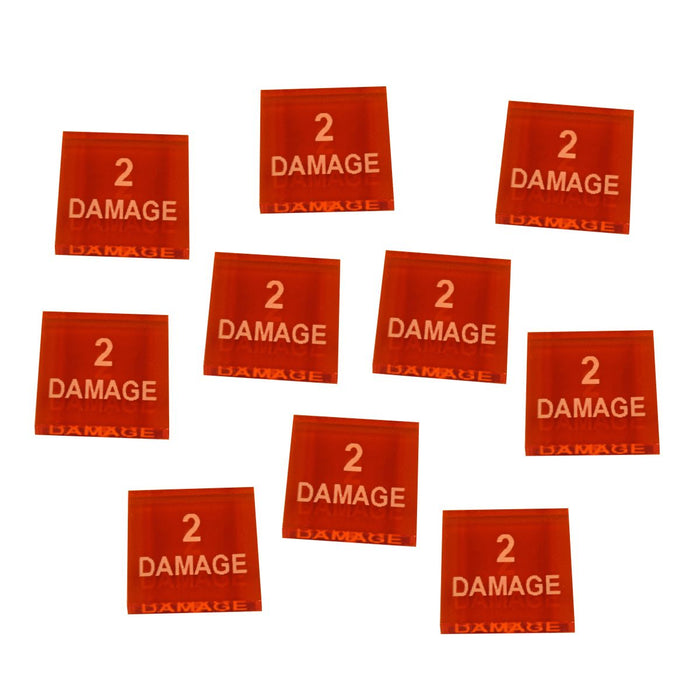 LITKO 2-Damage Tokens, Fluorescent Amber (10) - LITKO Game Accessories