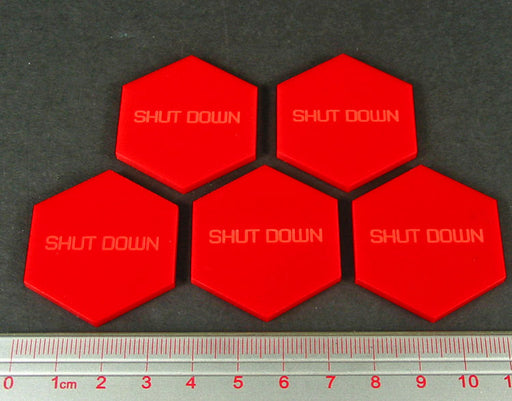LITKO Mecha Combat Shut Down Tokens, Red (5) - LITKO Game Accessories