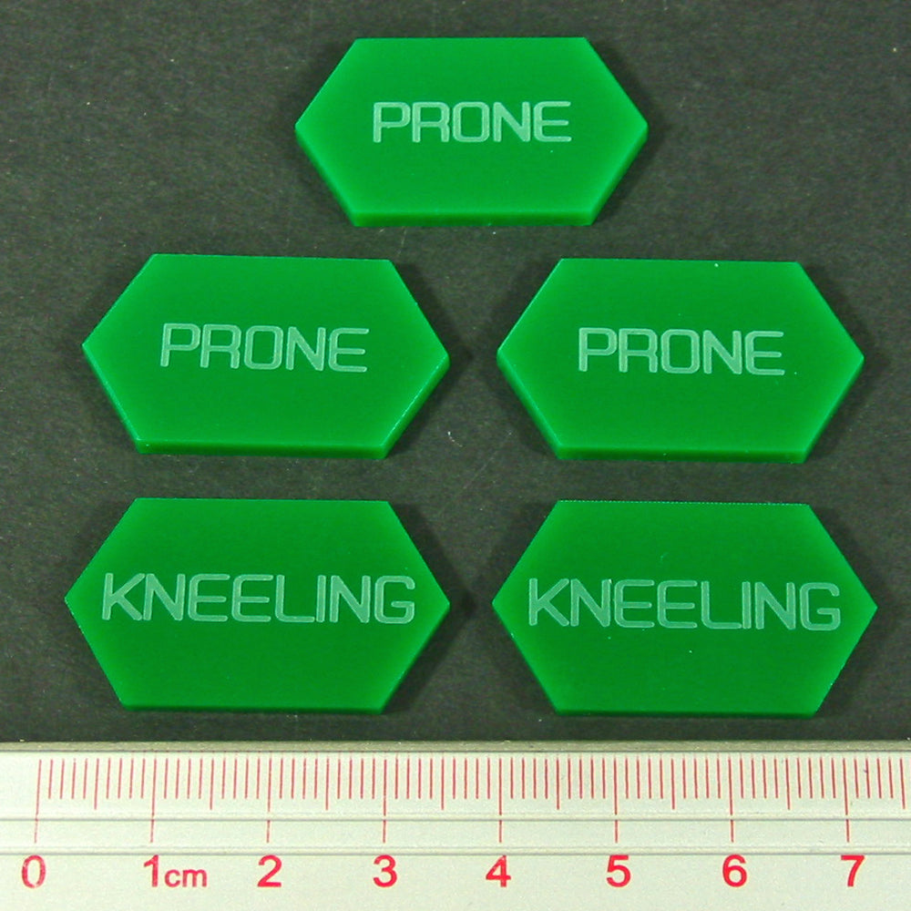 LITKO Mecha Combat Double-Sided Prone/Kneeling Tokens, Green (5) - LITKO Game Accessories
