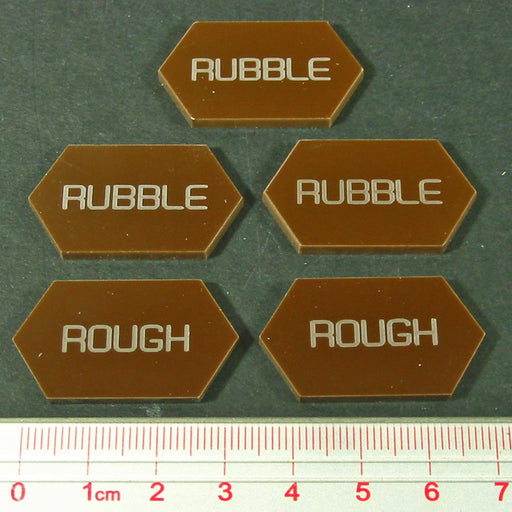 LITKO Mecha Combat Double-Sided Rubble/Rough Tokens, Brown (5) - LITKO Game Accessories