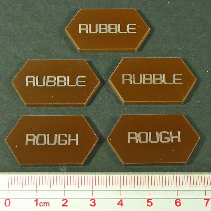 Mecha Combat Double-Sided Rubble/Rough Tokens, Brown (5) - LITKO Game Accessories