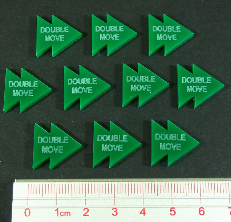 Double Move Tokens, Green  (10) - LITKO Game Accessories