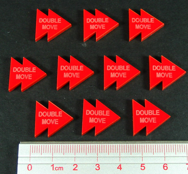 Double Move Tokens, Red (10) - LITKO Game Accessories