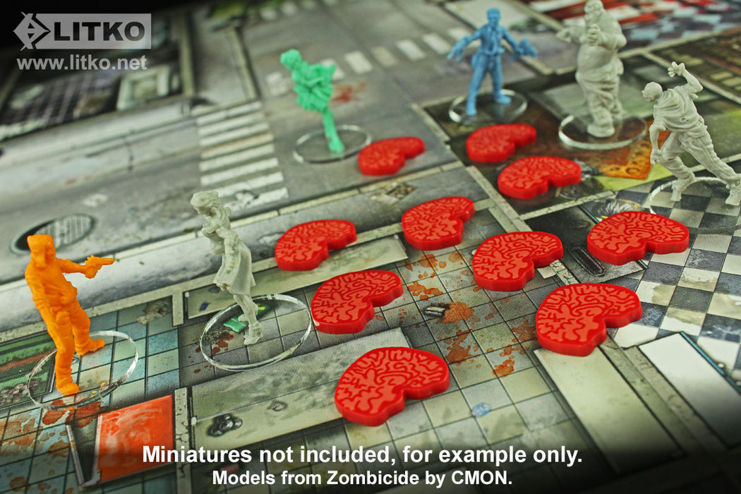 Brain Tokens, Red (10) - LITKO Game Accessories