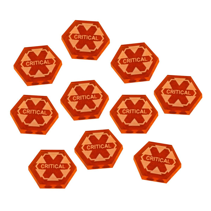 Critical Damage Tokens, Fluorescent Amber (10) - LITKO Game Accessories