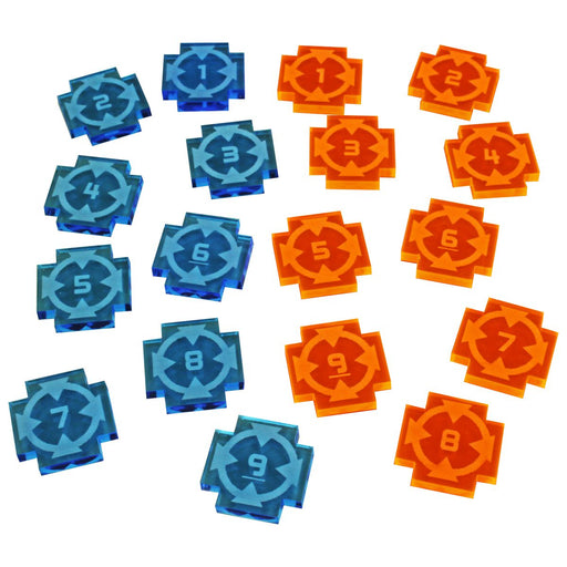 Space Fighter Target Lock Token Set #1-9, Fluorescent Blue & Fluorescent Orange (18) - LITKO Game Accessories