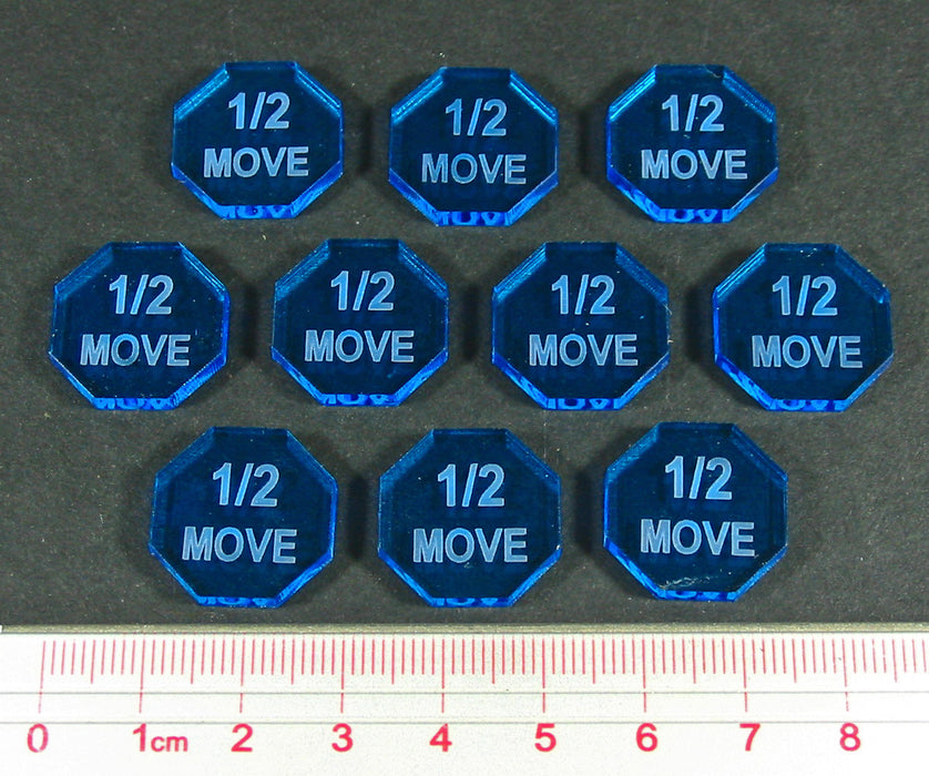 One Half Move Tokens, Fluorescent Blue (10) - LITKO Game Accessories