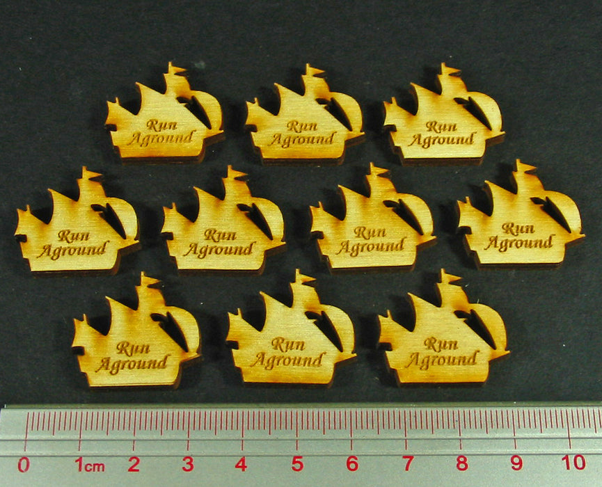 Run Aground Ship Tokens, Natural Wood (10) - LITKO Game Accessories