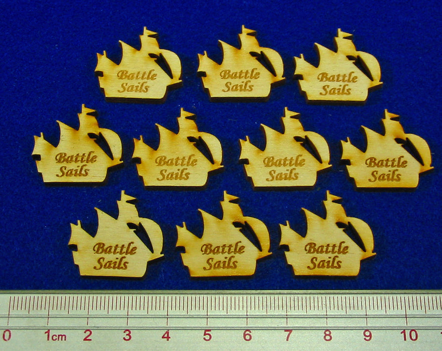 Battle Sails Tokens, Natural Wood (10) - LITKO Game Accessories
