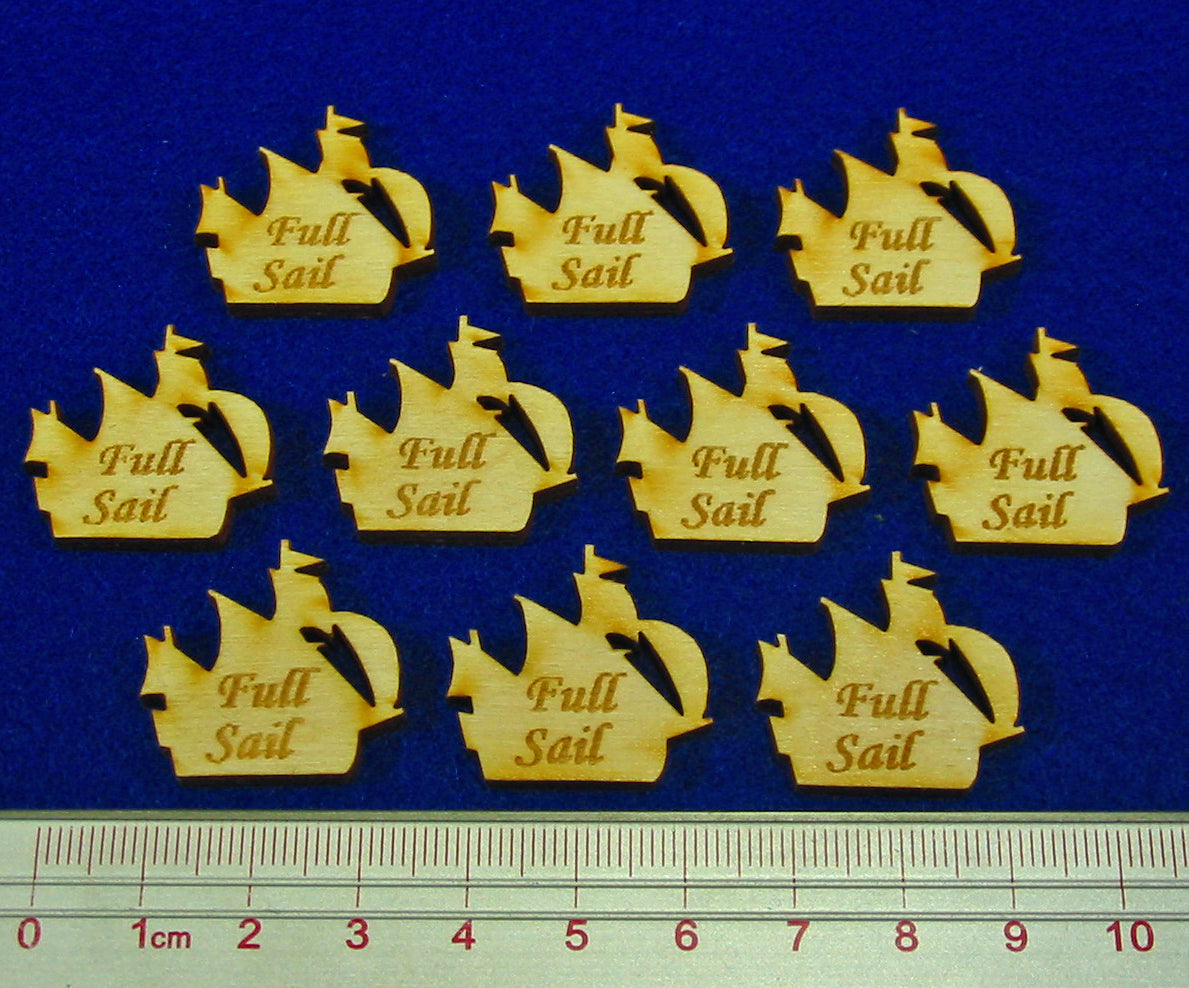 Full Sail Ship Tokens, Natural Wood (10) - LITKO Game Accessories