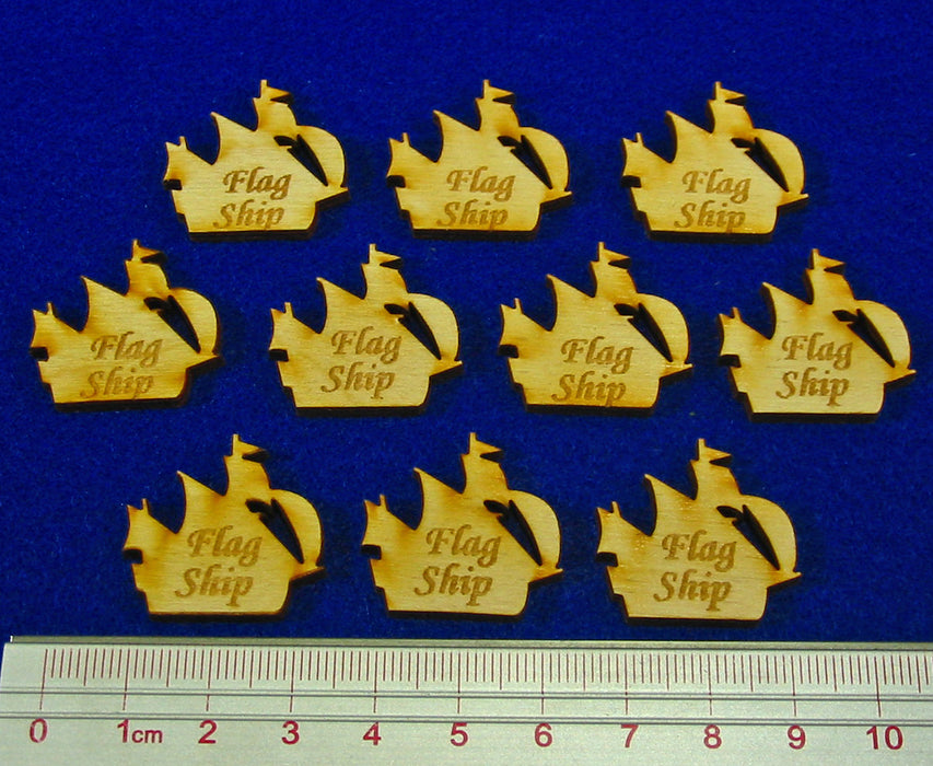 Flag Ship Ship Tokens, Natural Wood (10) - LITKO Game Accessories