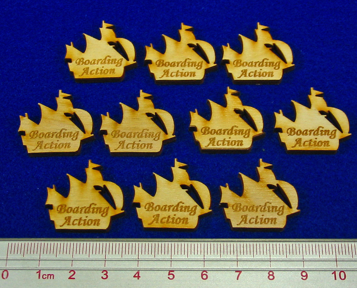 Boarding Action Ship Tokens, Natural Wood (10) - LITKO Game Accessories