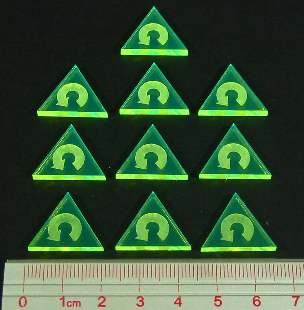 Space Fighter Barrel Roll Tokens, Fluorescent Green  (10) - LITKO Game Accessories