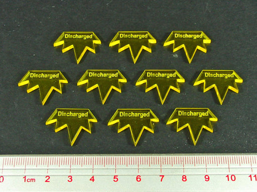 Discharged Tokens, Fluorescent Yellow (10) - LITKO Game Accessories