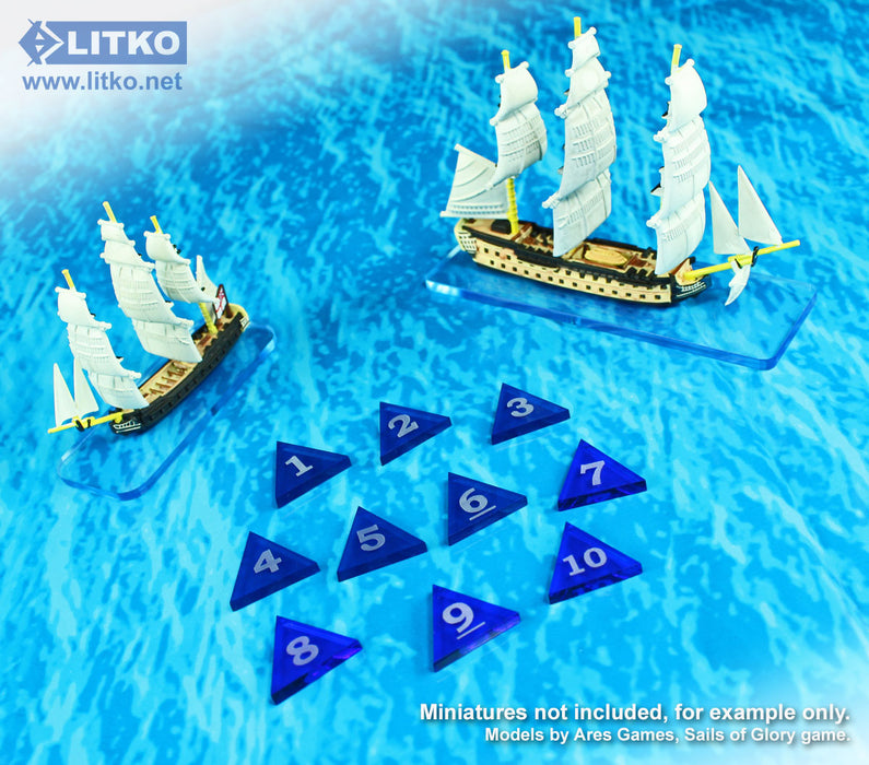Mini Numbered Triangles 1-10, Translucent Blue  (10) - LITKO Game Accessories
