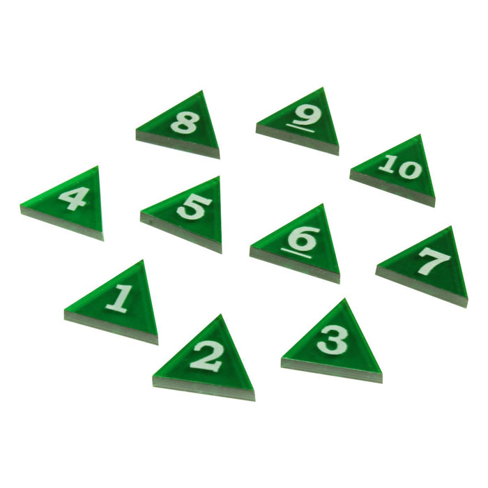 Mini Numbered Triangles 1-10, Translucent Green  (10) - LITKO Game Accessories