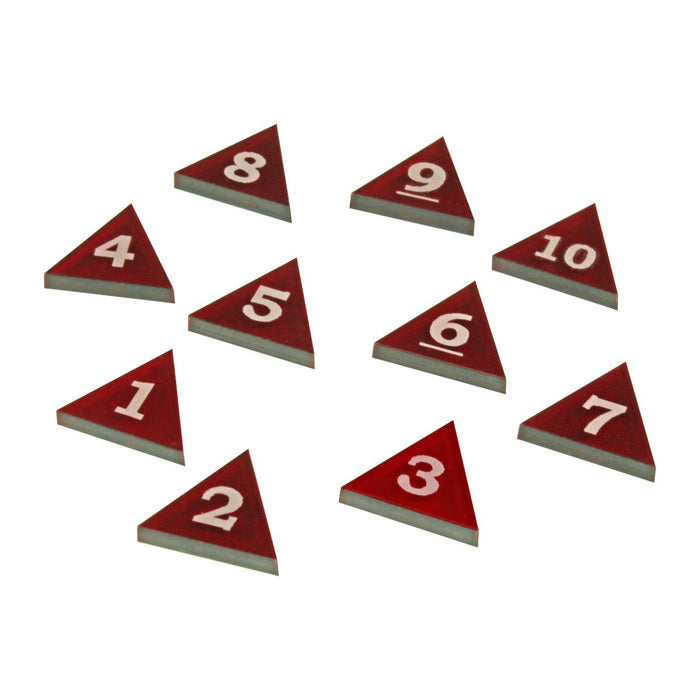 Mini Numbered Triangles 1-10, Translucent Red (10) - LITKO Game Accessories