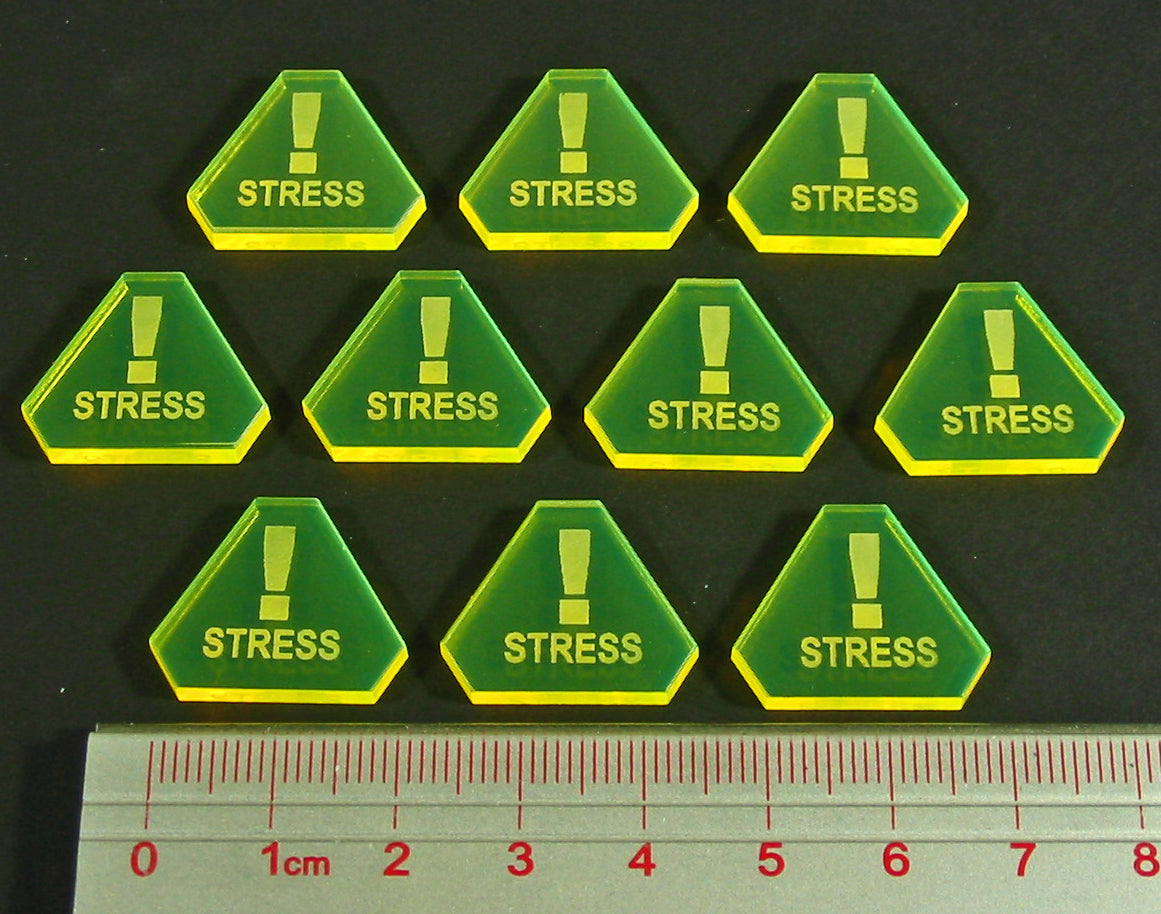 LITKO Space Fighter Stress Tokens, Fluorescent Yellow (10) - LITKO Game Accessories