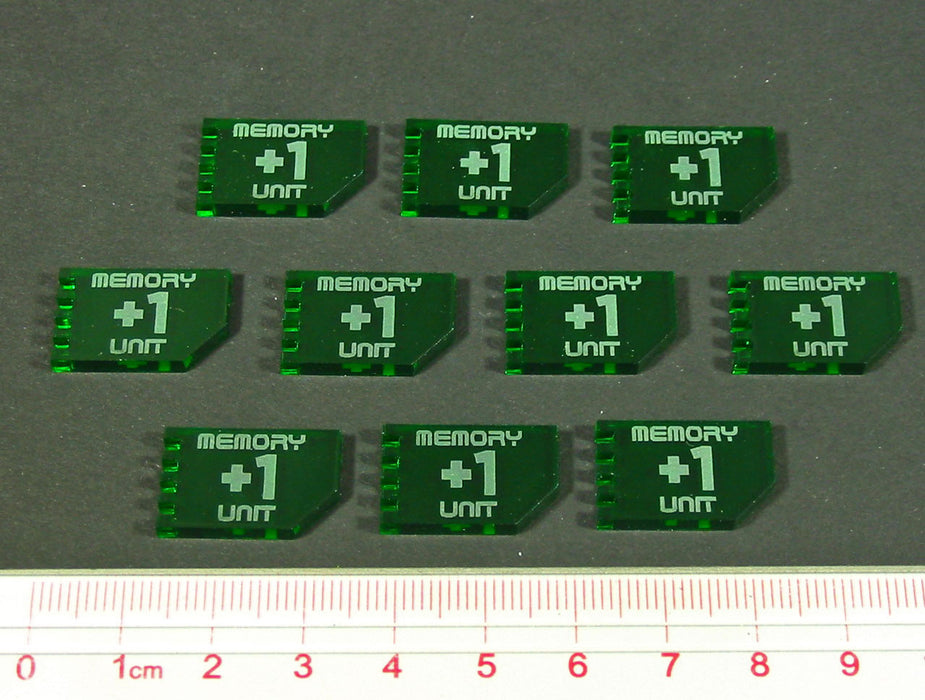 Net Hacker Memory Unit Tokens, Translucent Green (10) - LITKO Game Accessories