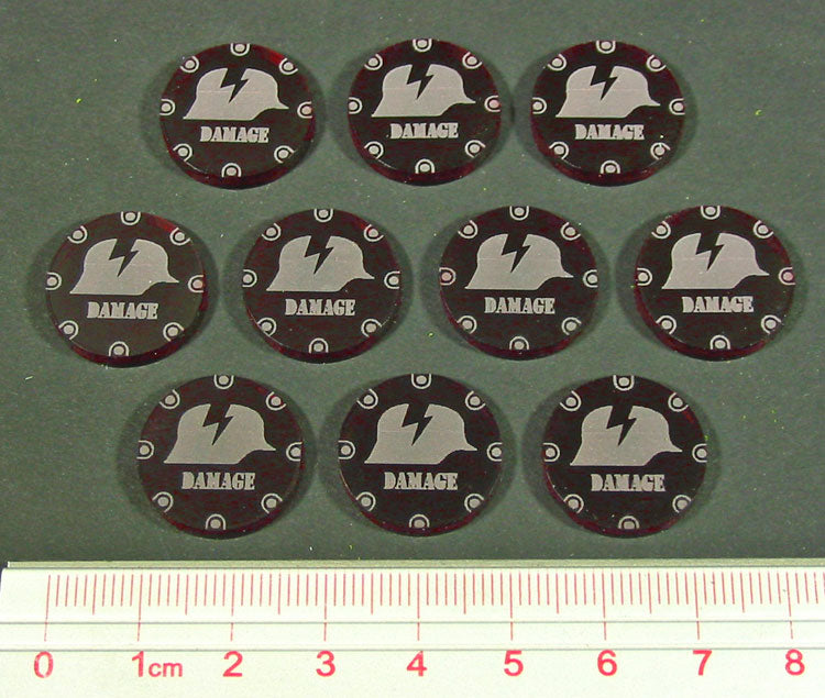 Damage Token, Translucent Red (10) - LITKO Game Accessories