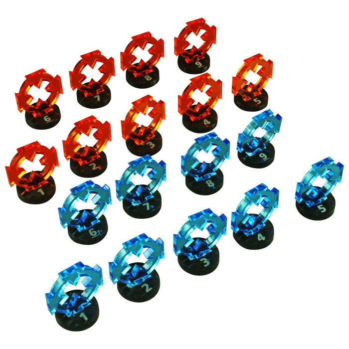 Space Fighter Target Marker Expansion Set #1-9, Fluorescent Blue and Fluorescent Orange (18) - LITKO Game Accessories