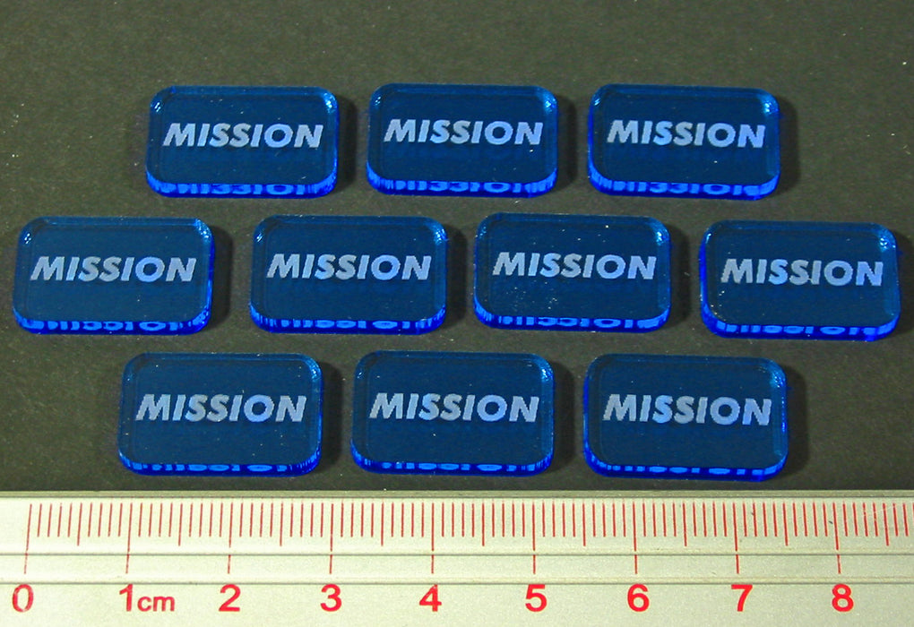 Space Wing Mission Tokens, Fluorescent Blue (10) - LITKO Game Accessories