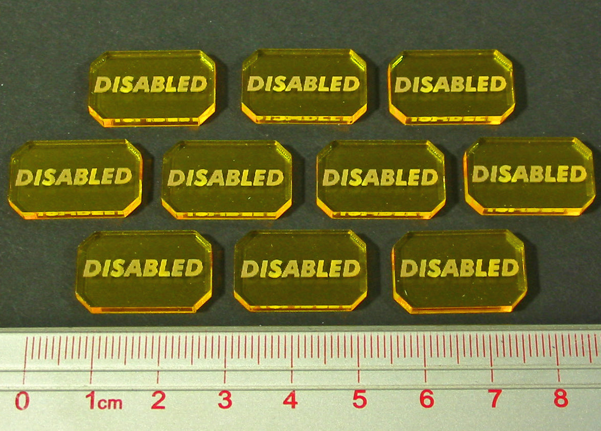 LITKO Space Wing Disabled Tokens, Transparent Yellow (10) - LITKO Game Accessories