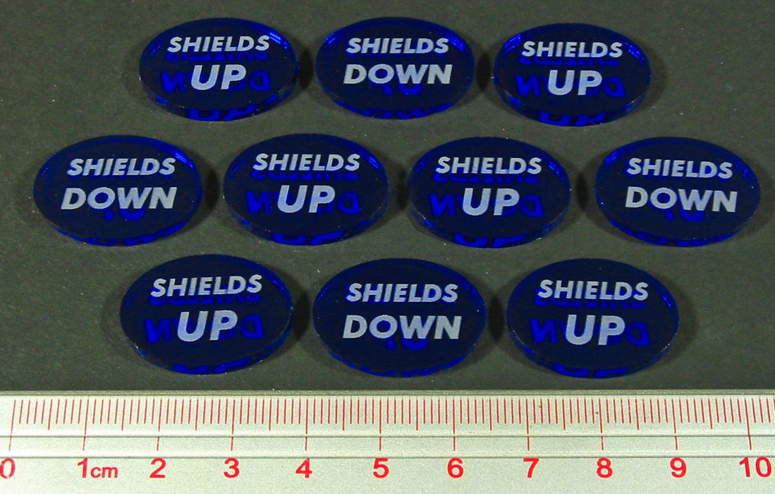 LITKO Space Wing Double-Sided Shields Up/Shields Down Tokens, Translucent Blue (10) - LITKO Game Accessories