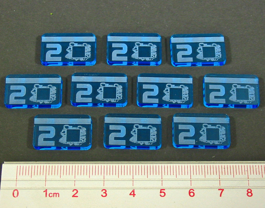 Net Hacker 2-Credit Tokens, Fluorescent Blue (10) - LITKO Game Accessories