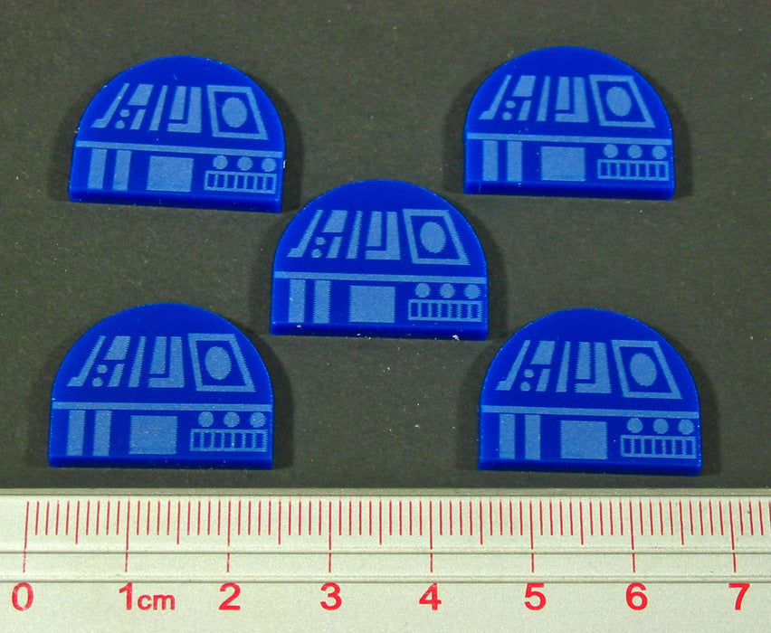 Space Fighter Mech Assist Tokens, Blue (5) - LITKO Game Accessories