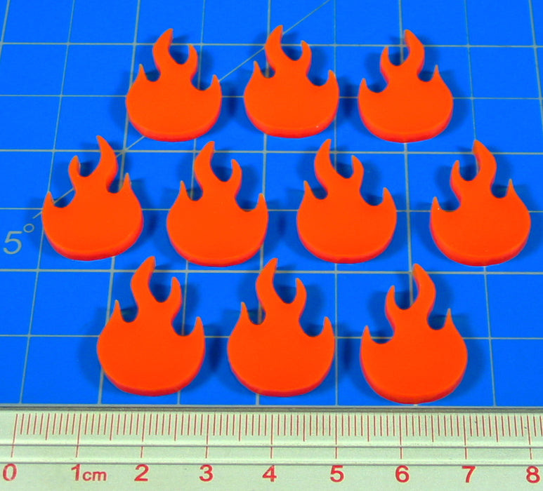 LITKO Fire Fighting Game Fire Tokens, Orange (10) - LITKO Game Accessories