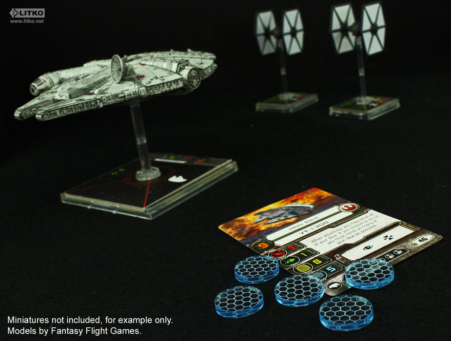 Space Fighter Shield Tokens, Transparent Light Blue (10) - LITKO Game Accessories