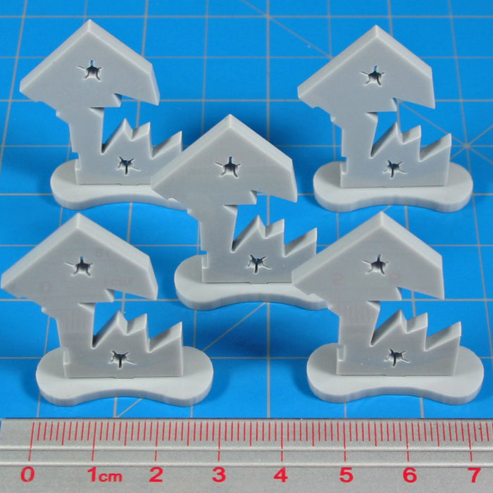Broken Door Markers, Grey (5) - LITKO Game Accessories