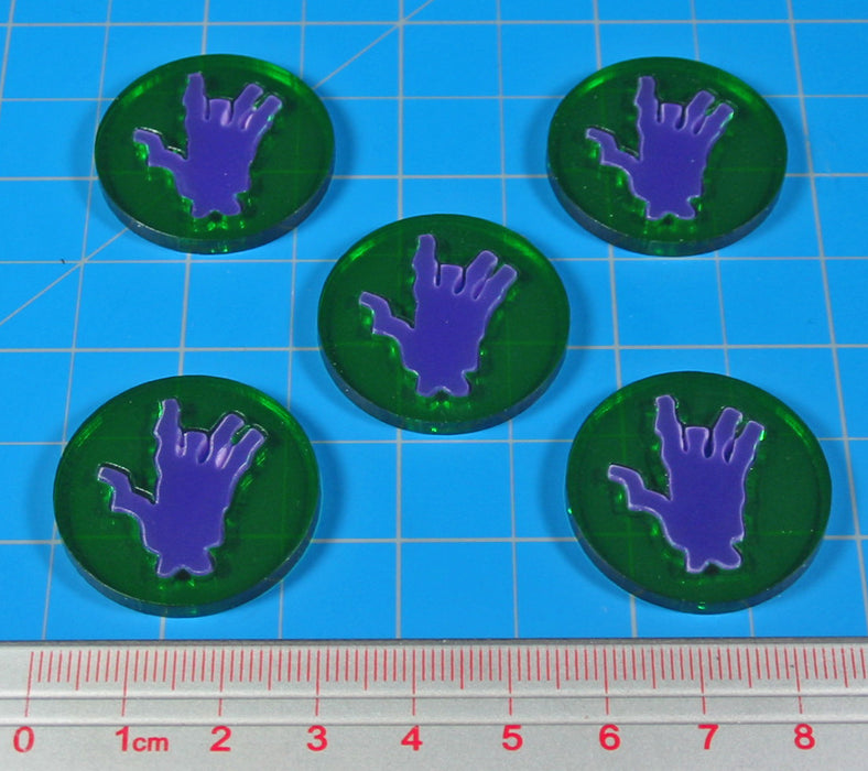 LITKO Rotten Skill Tokens, Translucent Green & Purple (5) - LITKO Game Accessories