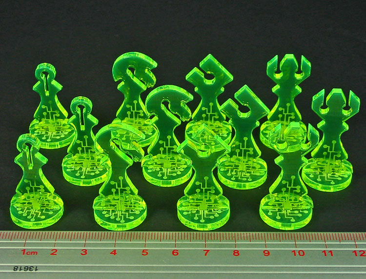 Net Hacker Chess Program Markers, Fluorescent Green (12) - LITKO Game Accessories