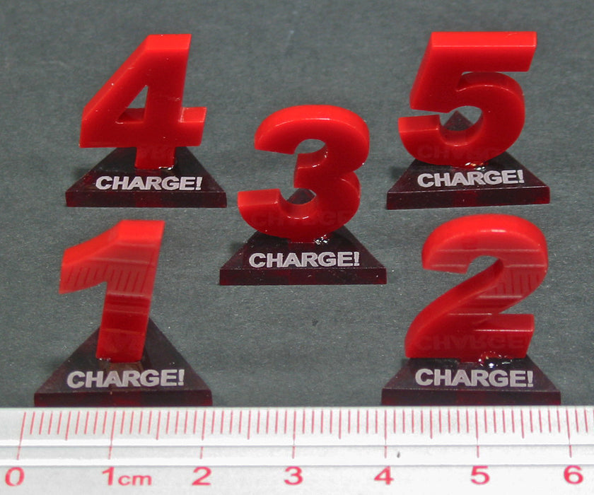 Fantasy Battle Charge Marker Set, Red (5) - LITKO Game Accessories