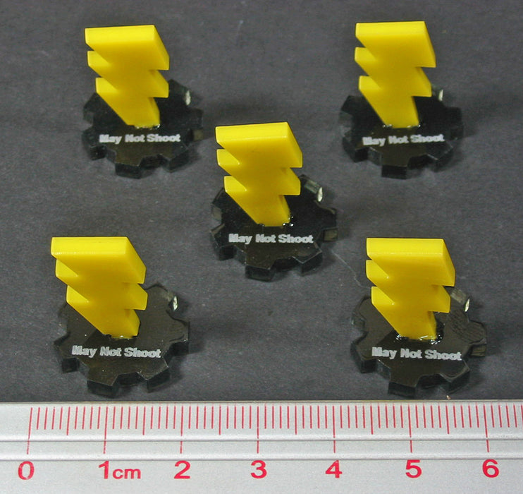 LITKO Fantasy Battle May Not Shoot Markers, Transparent Grey & Yellow (5) - LITKO Game Accessories