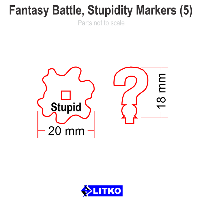 Fantasy Battle Stupidity Markers (5) - LITKO Game Accessories